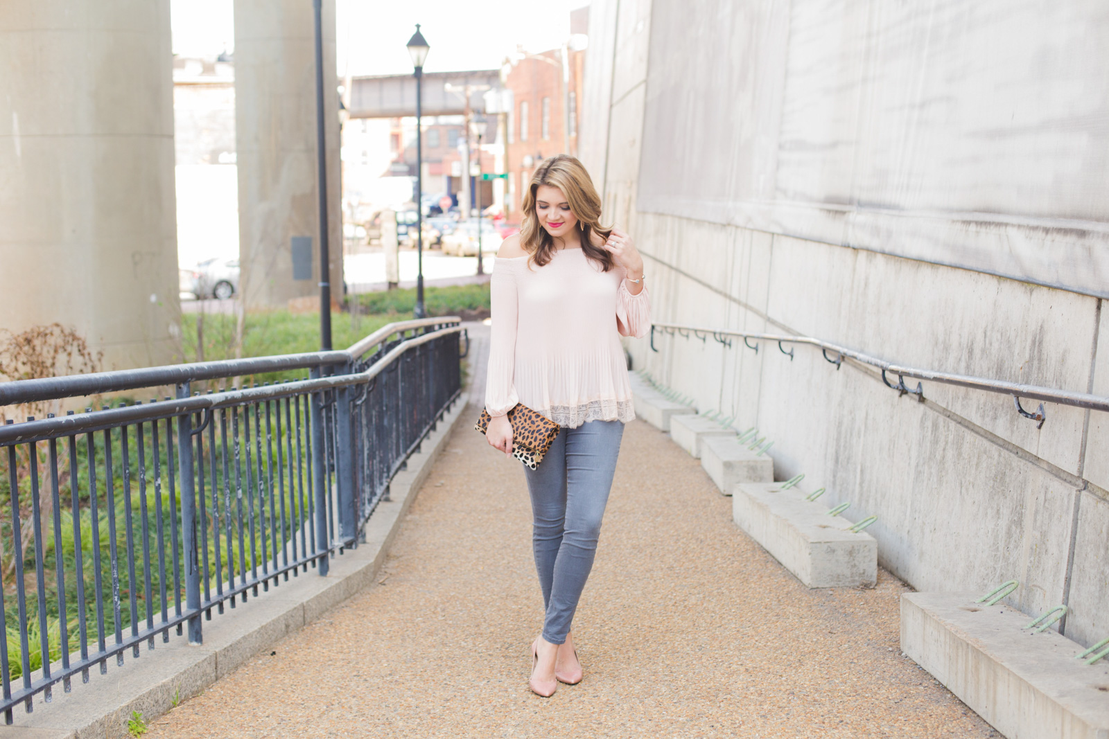 spring date night outfit - blush and gray outfit. Click through for more cute outfits or to shop this look! | www.bylaurenm.com