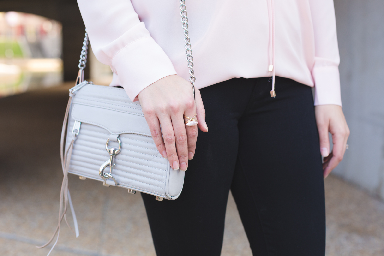 blush, black, and grey outfit - black jeans, blush top, grey mini mac bag | Click through for more Spring outfit inspiration or to shop this look! www.bylaurenm.com