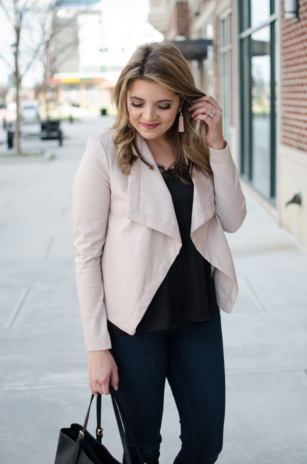 blush leather jacket, black lace camisole. | Click through for more casual outfits or to shop this look! www.bylaurenm.com