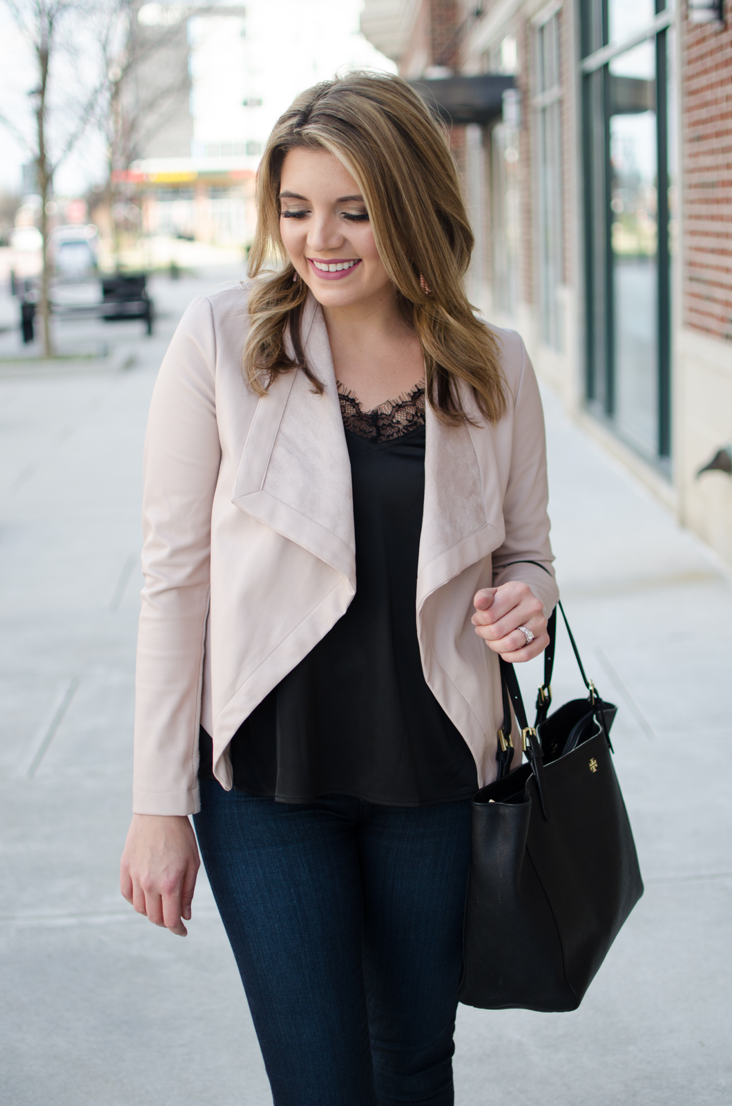 blush leather jacket, black lace camisole | Click through for more casual outfits or to shop this look! www.bylaurenm.com