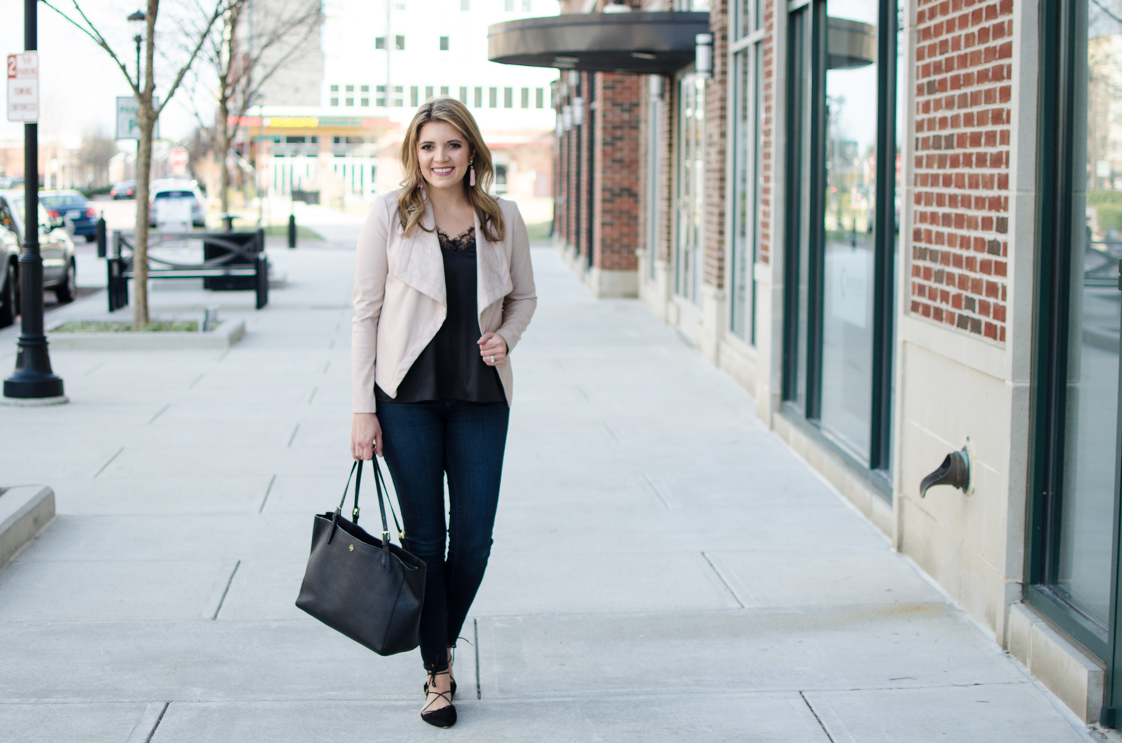 blush leather jacket outfit - blush jacket with black lace camisole. | Click through for more casual outfits or to shop this look! www.bylaurenm.com