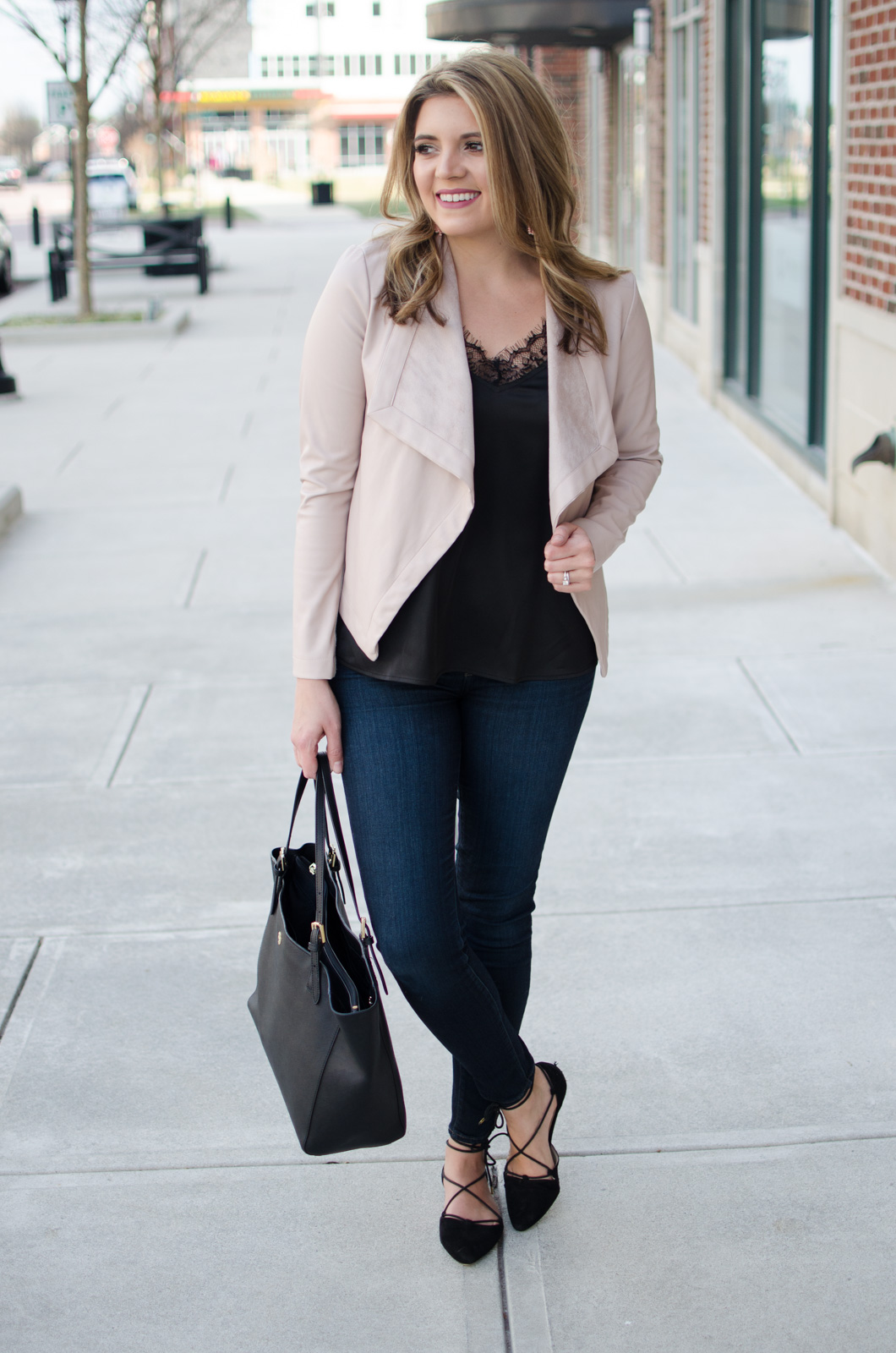 blush pink leather jacket with black lace camisole and black lace-up flats | Click through for more casual outfits or to shop this look! www.bylaurenm.com