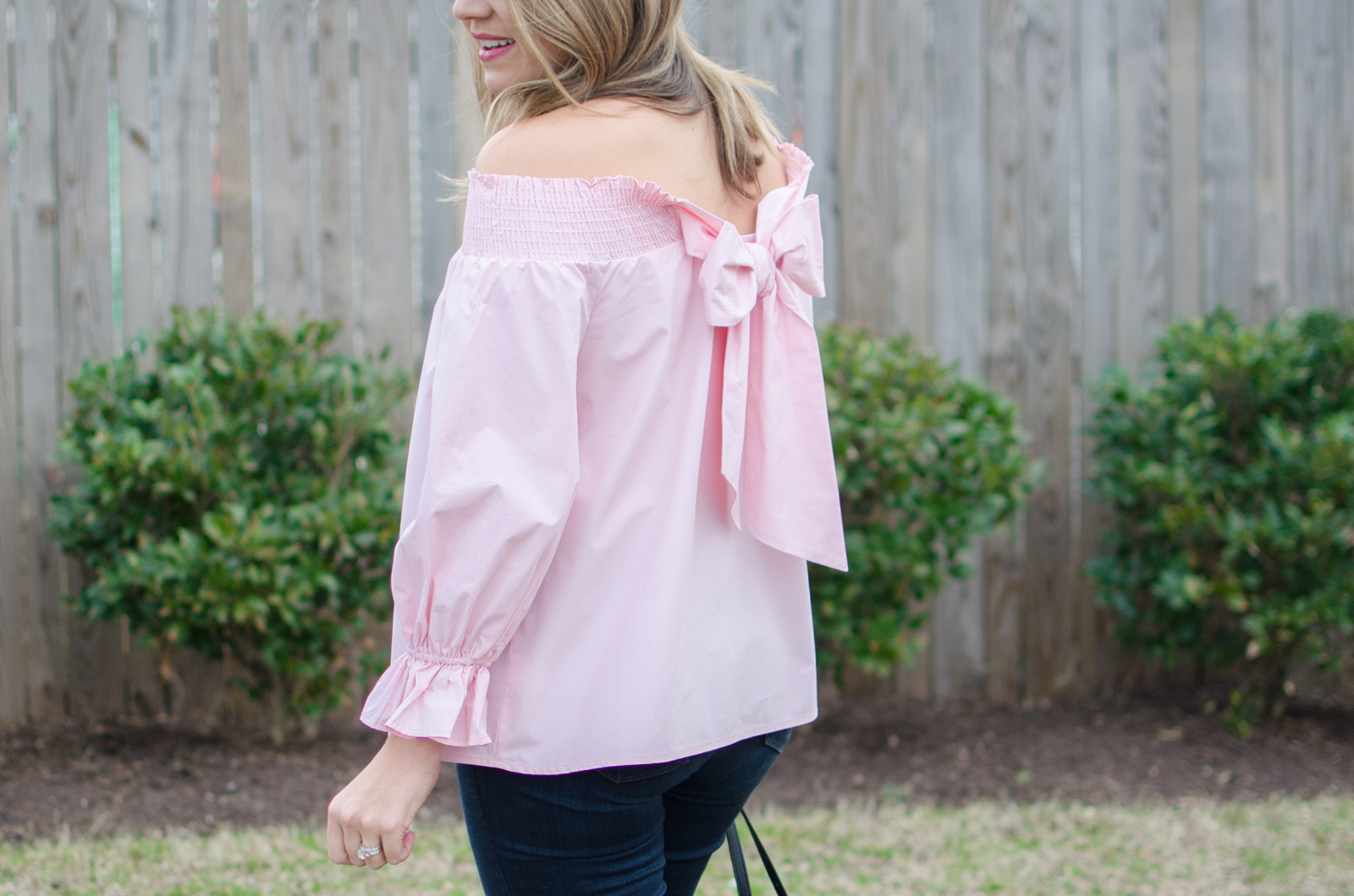 off shoulder bow top - cutest spring outfit. click through for more cute spring outfits or to shop this look! | www.bylaurenm.com