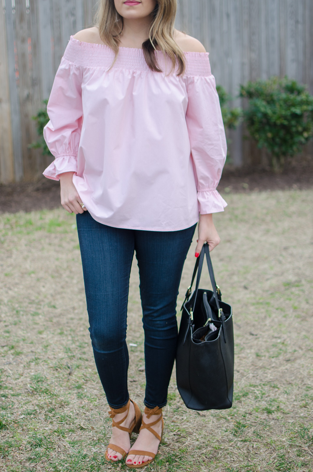 cute spring outfit idea - pink off shoulder top. click through for more cute spring outfits or to shop this look! | www.bylaurenm.com