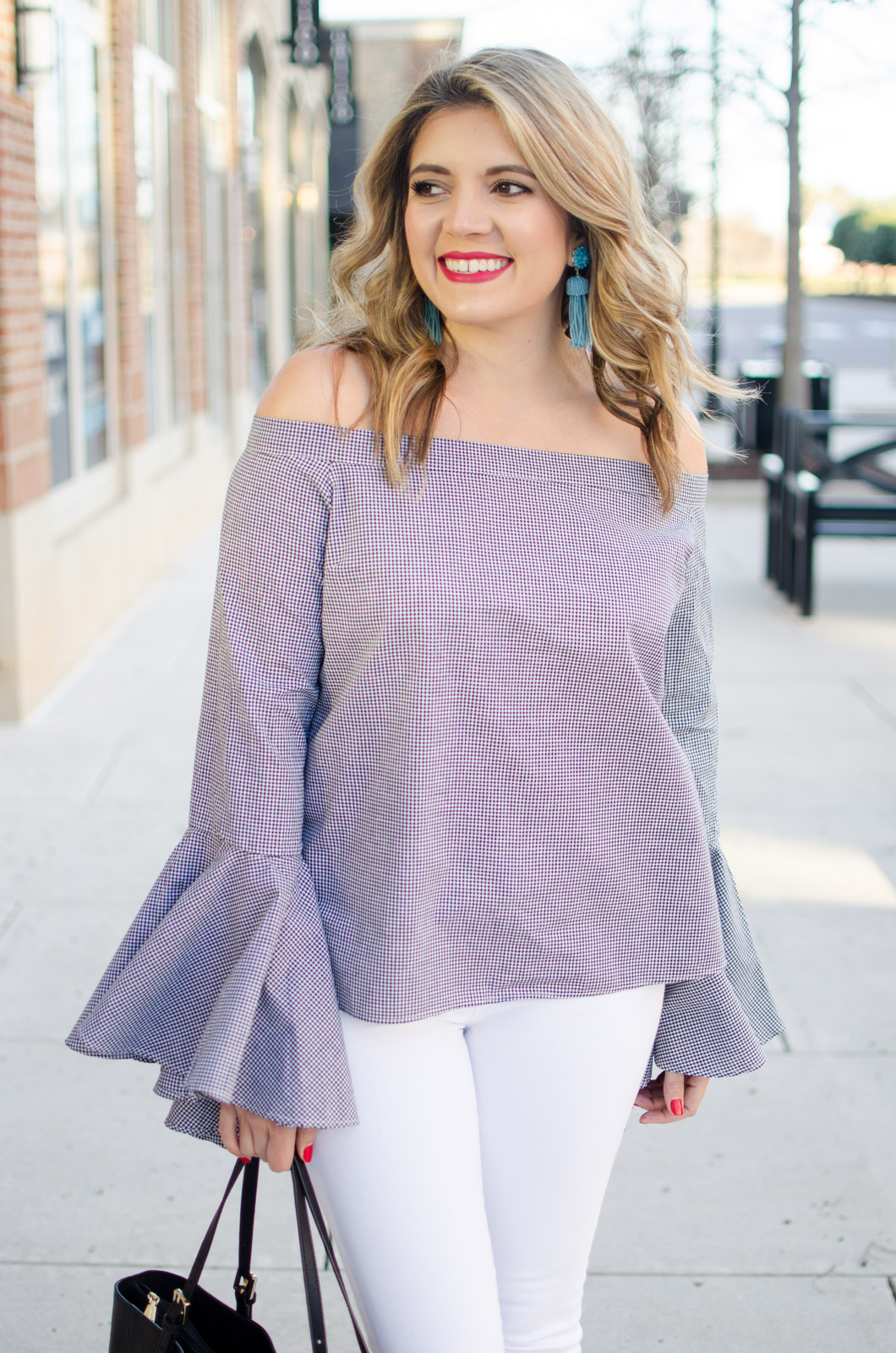 bell sleeve top spring outfit. Click through for more trendy Spring outfits or to shop this look! www.bylaurenm.com