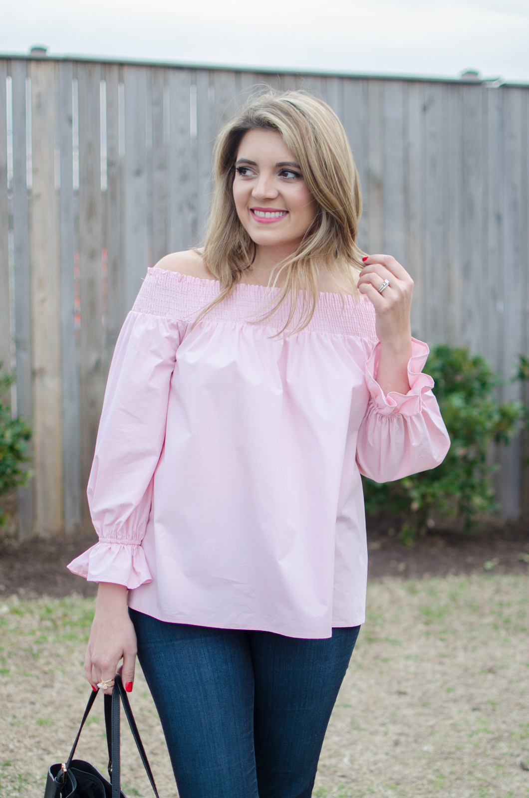 cute girly spring outfit - off shoulder pink top outfit. click through for more cute spring outfits or to shop this look! | www.bylaurenm.com