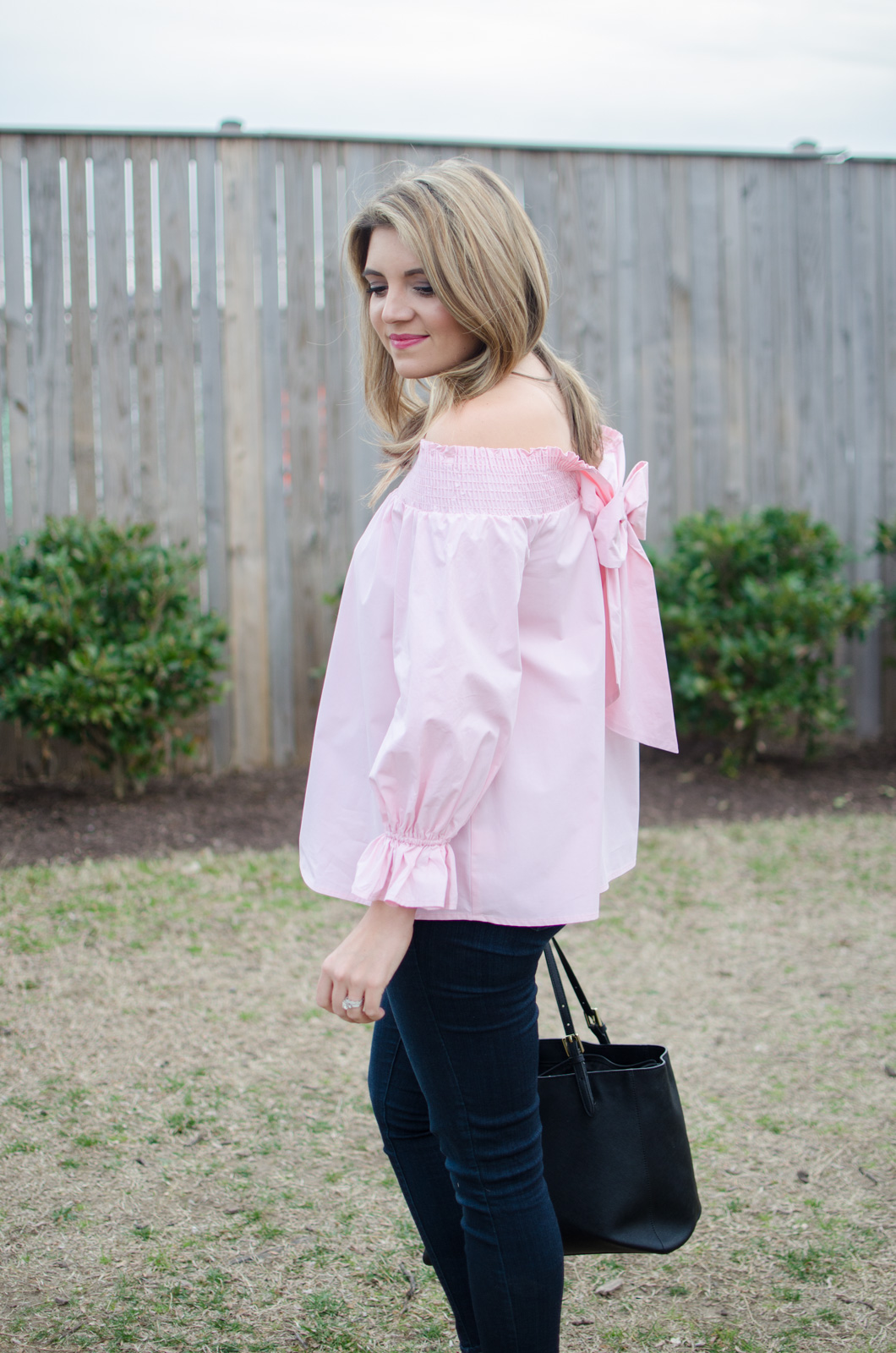 girly spring outfit idea - pink off shoulder bow top. click through for more cute spring outfits or to shop this look! | www.bylaurenm.com