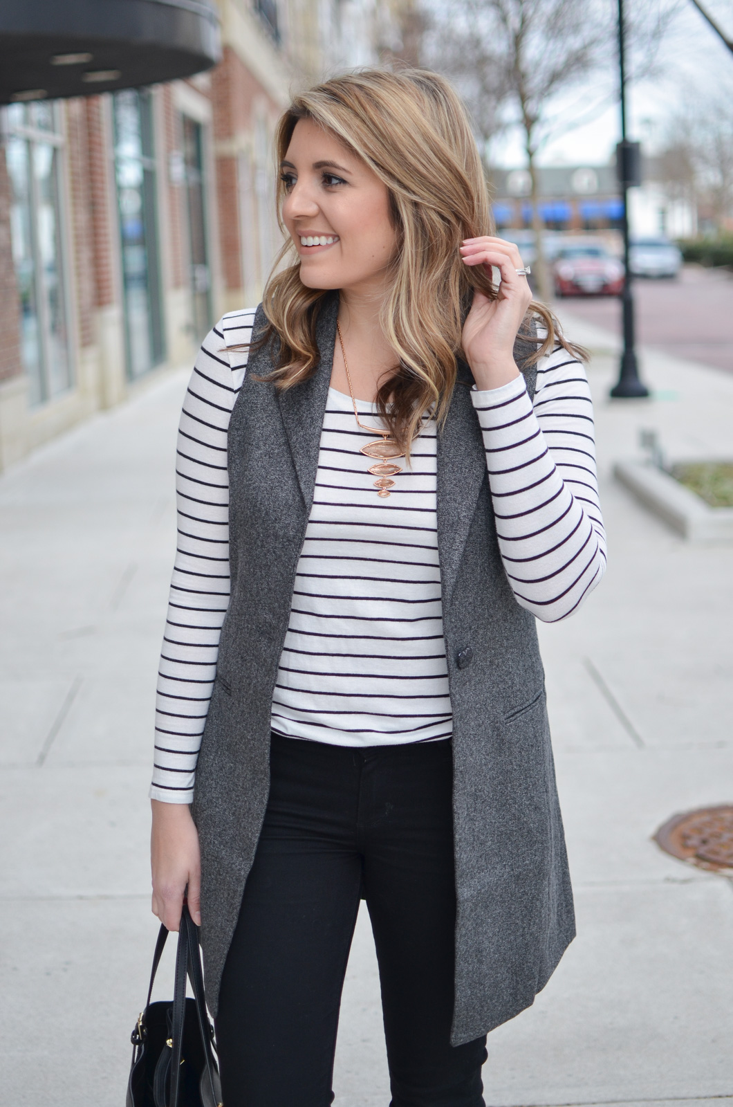 long grey vest outfit - stripe tee with long gray vest. Want more cute casual outfits? Head to bylaurenm.com!