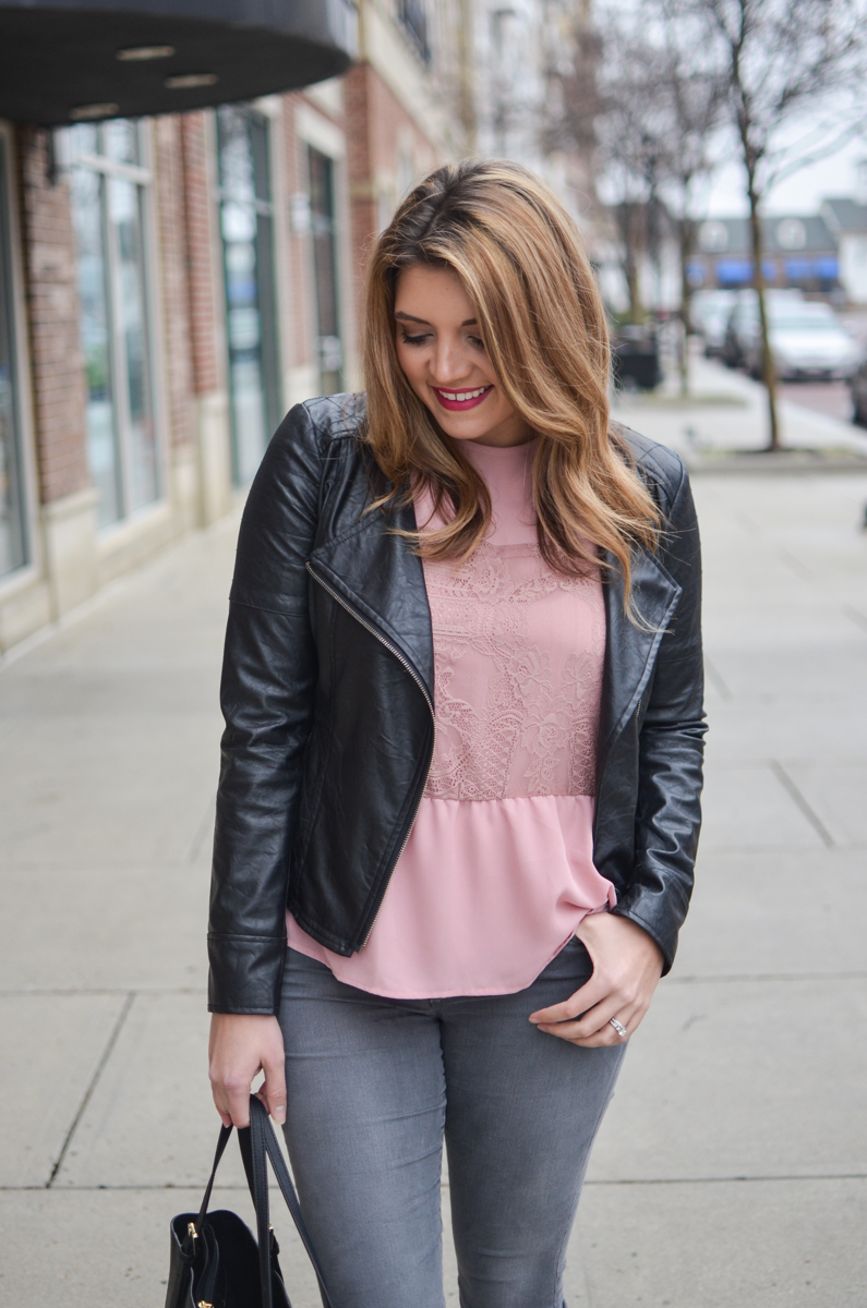 pink lace top outfit - pink lace top with ruffle hem and black leather moto jacket. Click through to see more cute casual outfits or to shop this look! | www.bylaurenm.com