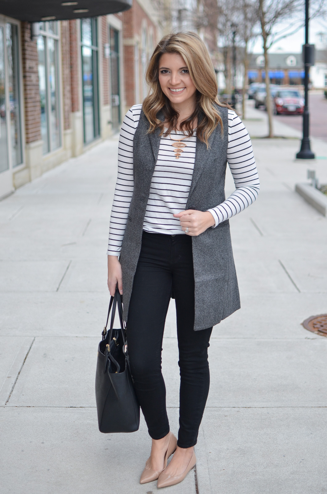 long gray vest outfit - striped long sleeve tee with a long grey vest. Want more cute casual outfits? Head to bylaurenm.com!