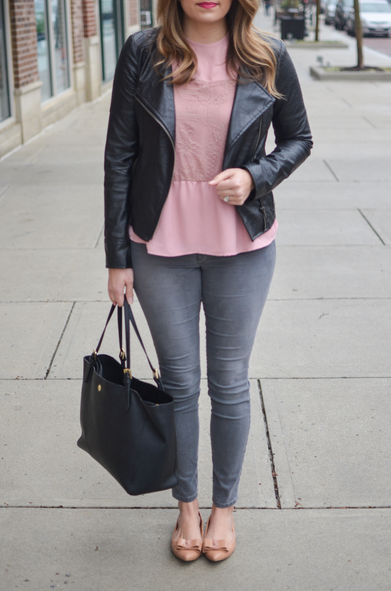 Leather and lace outfit - blush pink lace top with moto jacket and gray jeans. Click through to see more cute casual outfits or to shop this look! | www.bylaurenm.com