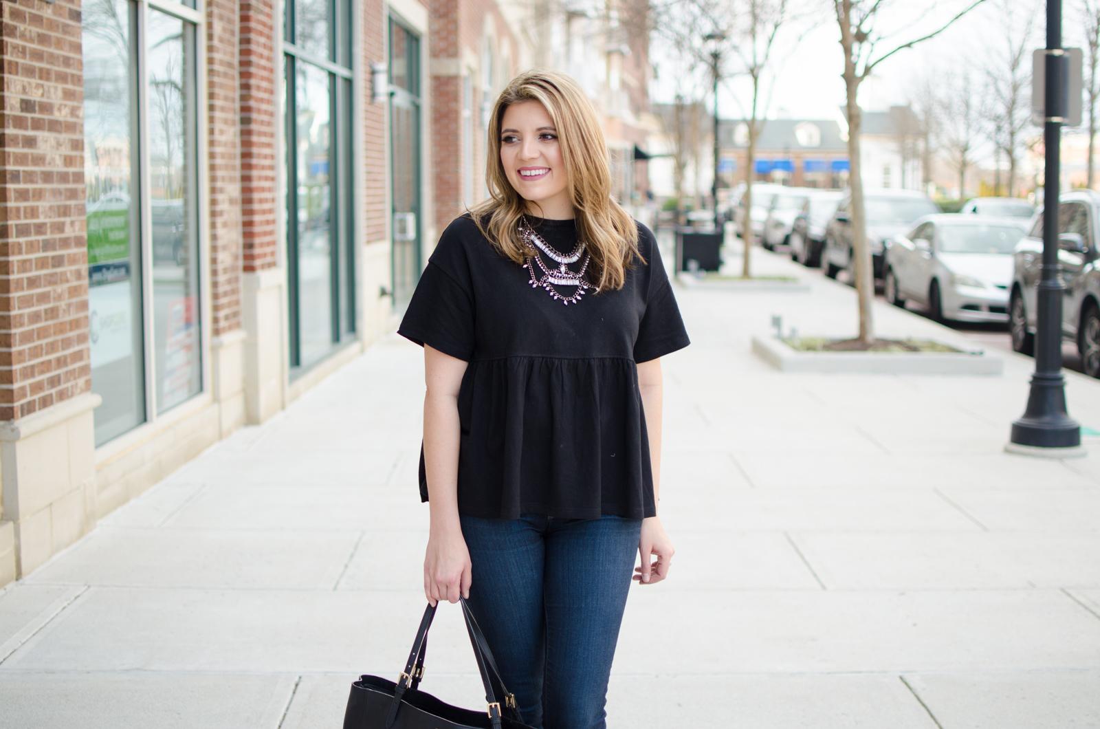 oversized peplum tee outfit - cute spring style | Click through for more cute weekend outfit ideas or to shop this look! www.bylaurenm.com