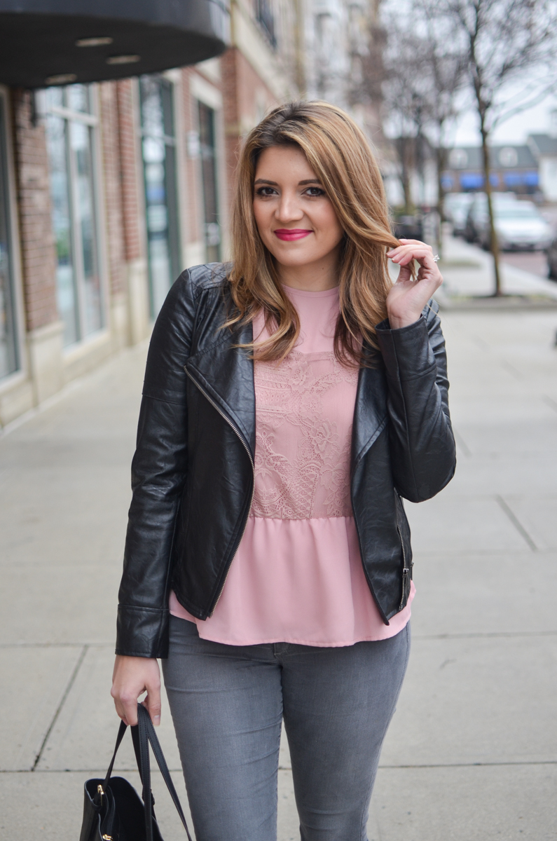 pink and gray outfit - blush pink lace top with black leather moto jacket and gray jeans. Click through to see more cute casual outfits or to shop this look! | www.bylaurenm.com