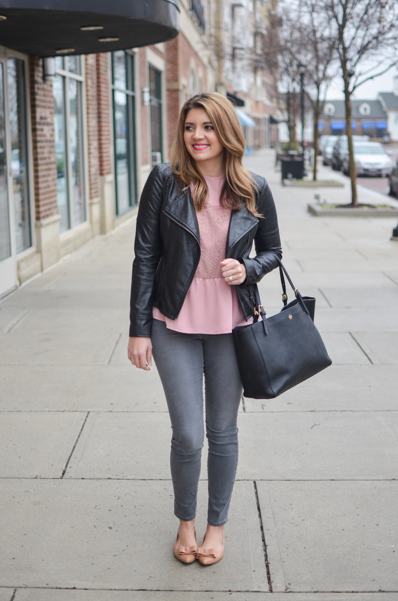 blush pink top with gray skinny jeans and black moto jacket. Click through to see more cute casual outfits or to shop this look! | www.bylaurenm.com