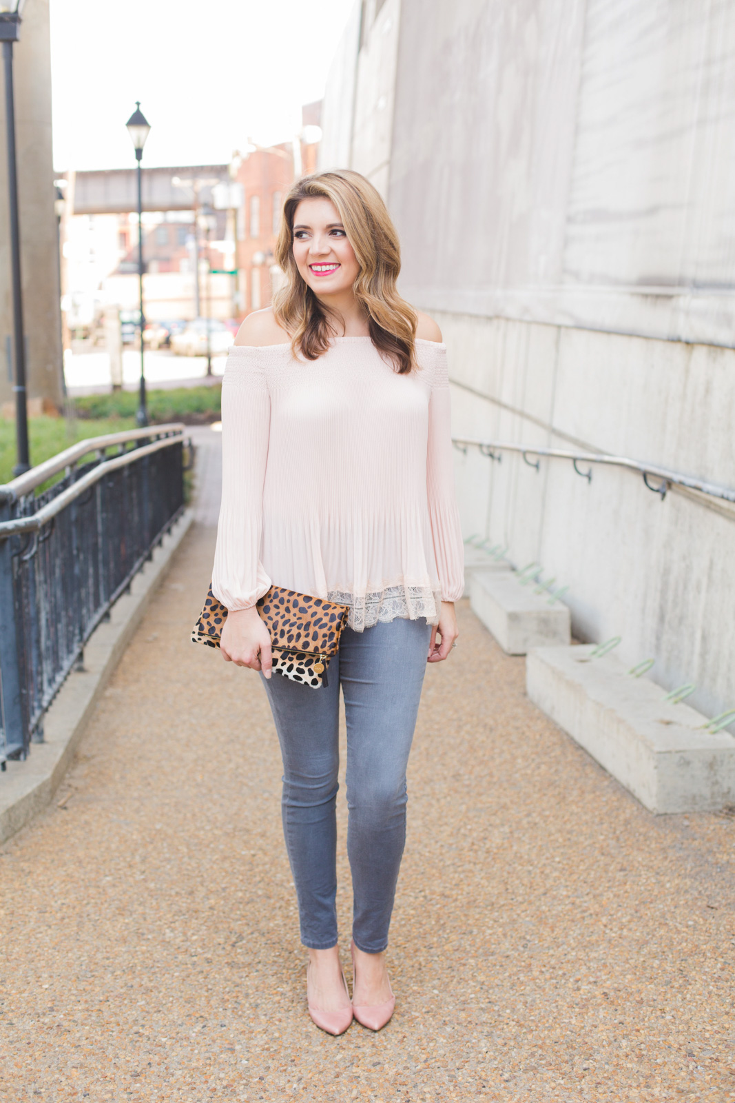 spring blush and gray date night outfit - Click through for more cute Spring outfits or to shop this look! | www.bylaurenm.com