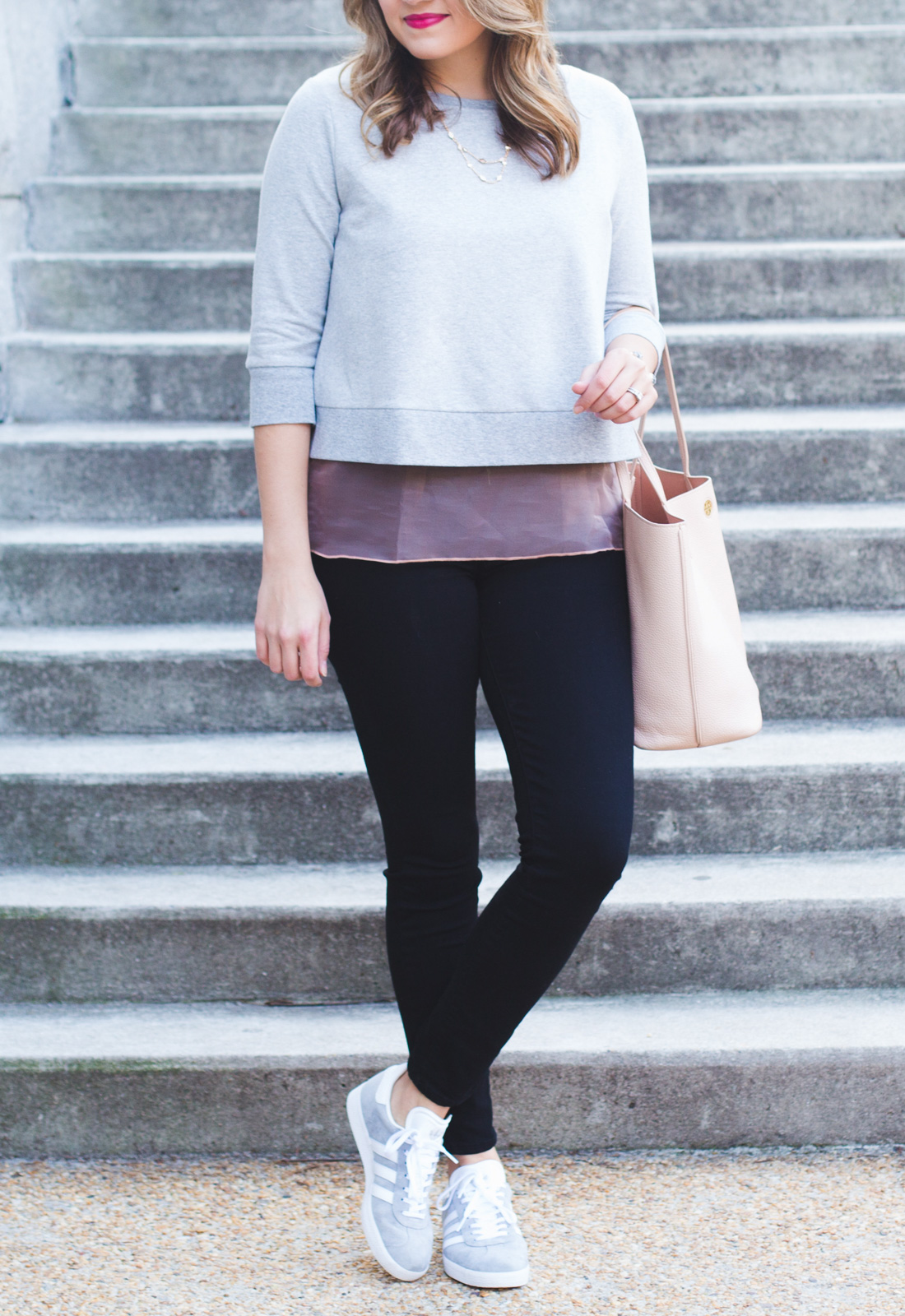 spring outfit with sneakers - adidas sneakers outfit. Click through for more casual Spring outfits or to shop this look! www.bylaurenm.com