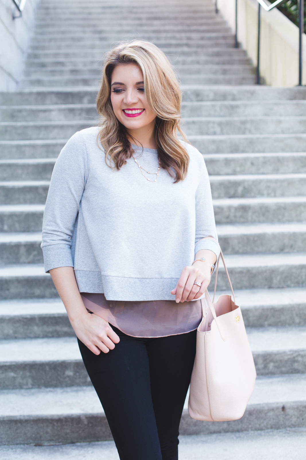 spring casual outfit - bow back sweatshirt. Click through for more casual Spring outfits or to shop this look! www.bylaurenm.com