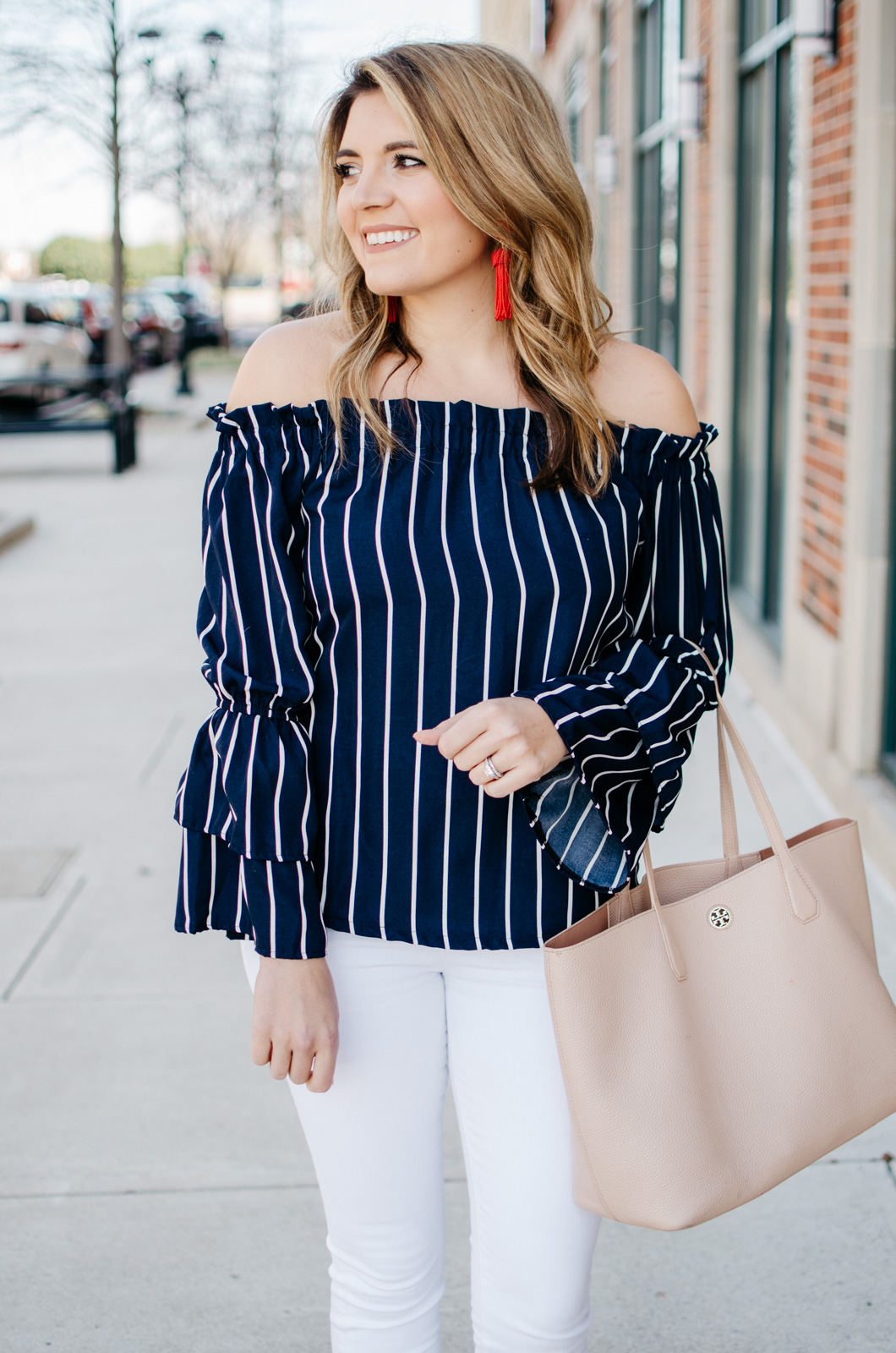 70498b6e22b trendy outfit for Spring - Click through for more cute Spring outfits or to  shop this. stripe off shoulder bell sleeve top ...