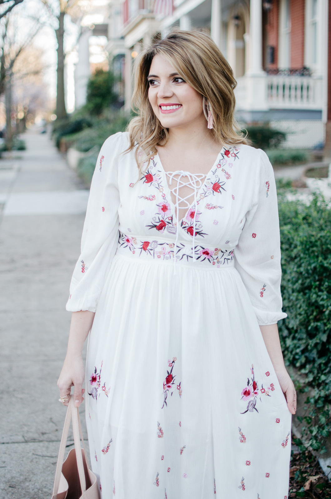 spring boho outfit - embroidered maxi dress outfit - Click through for more cute Spring outfits or to shop this look! | www.bylaurenm.com
