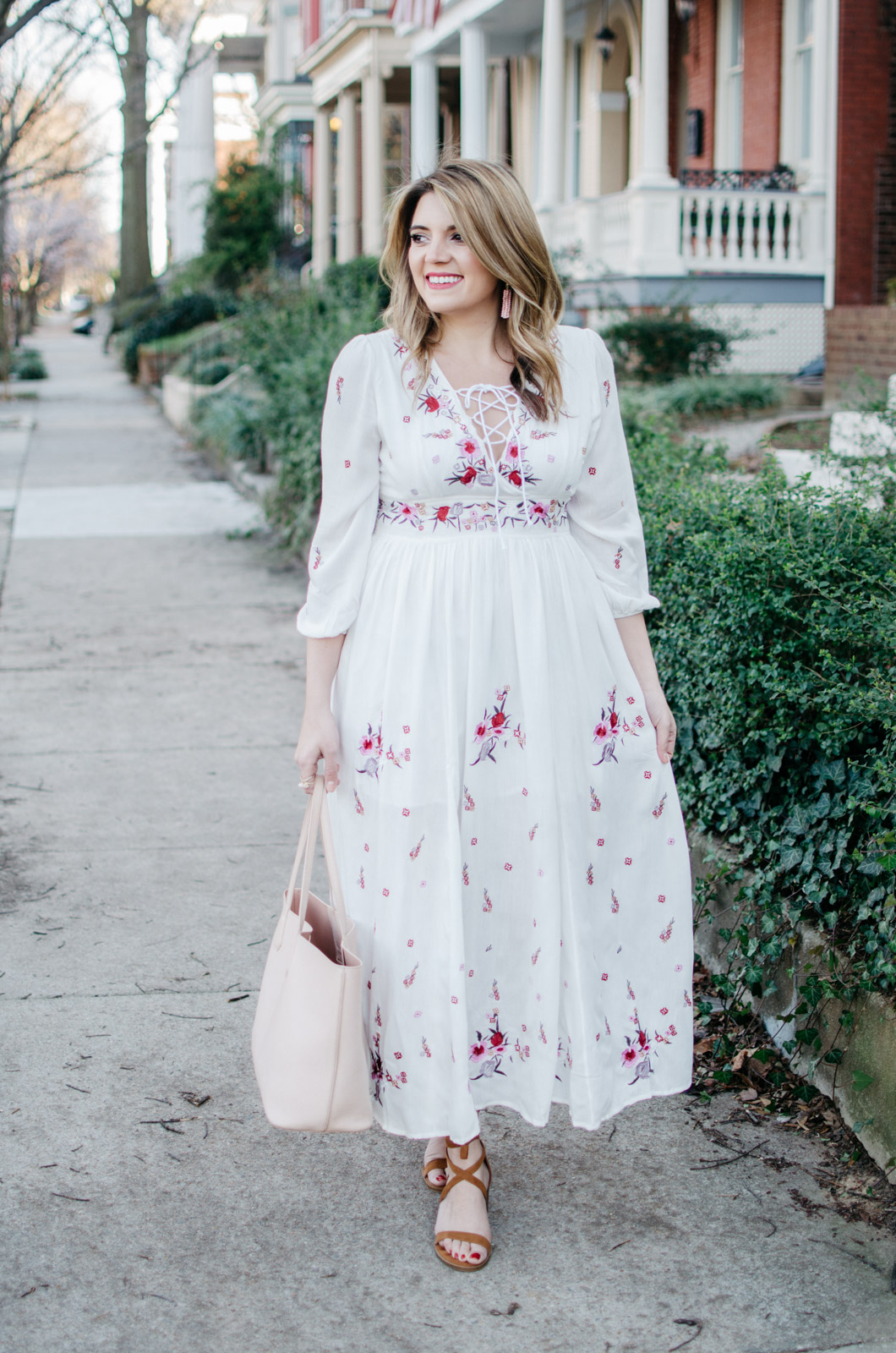 spring boho embroidered dress - click through for more cute Spring outfits or to shop this look! | www.bylaurenm.com