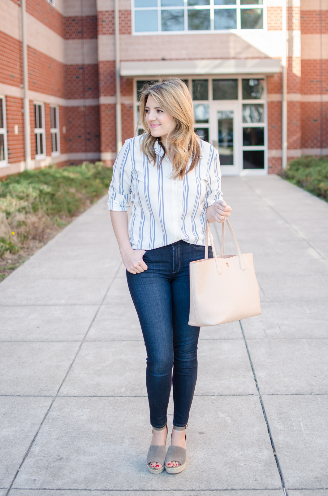 spring outfit - stripe button down outfit. bylaurenm.com