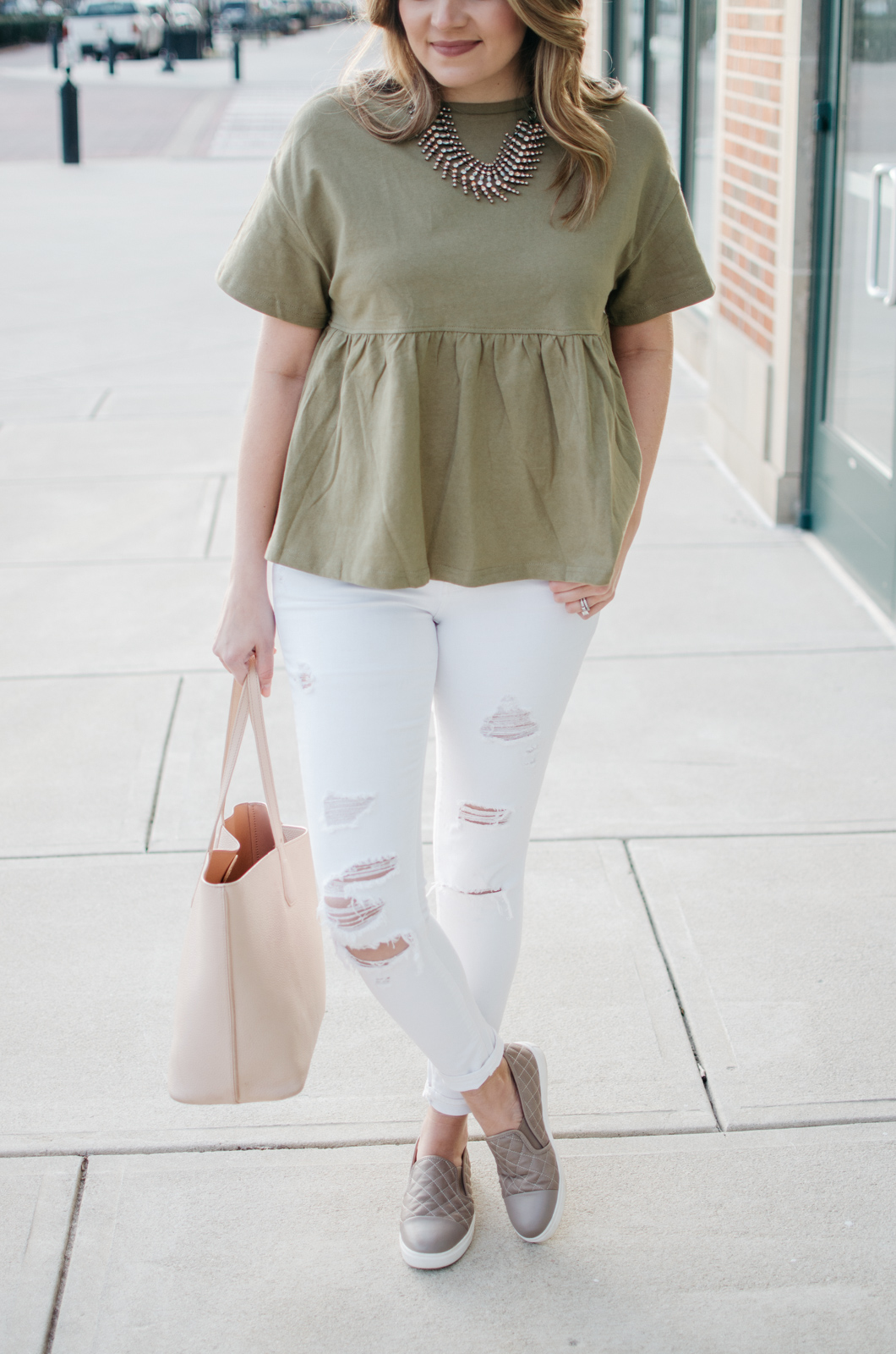 casual spring outfit ideas - cute peplum tee outfit. Click through for more cute casual outfits or to shop this look! bylaurenm.com
