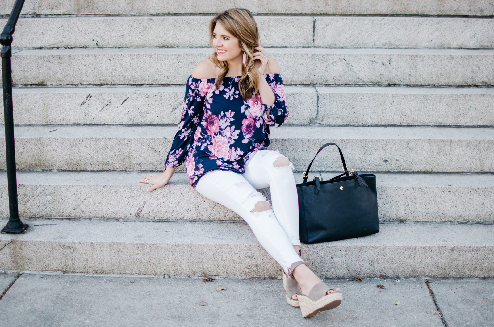 off shoulder floral print top spring outfit - For more pretty Spring outfits or to shop this look, head to bylaurenm.com!