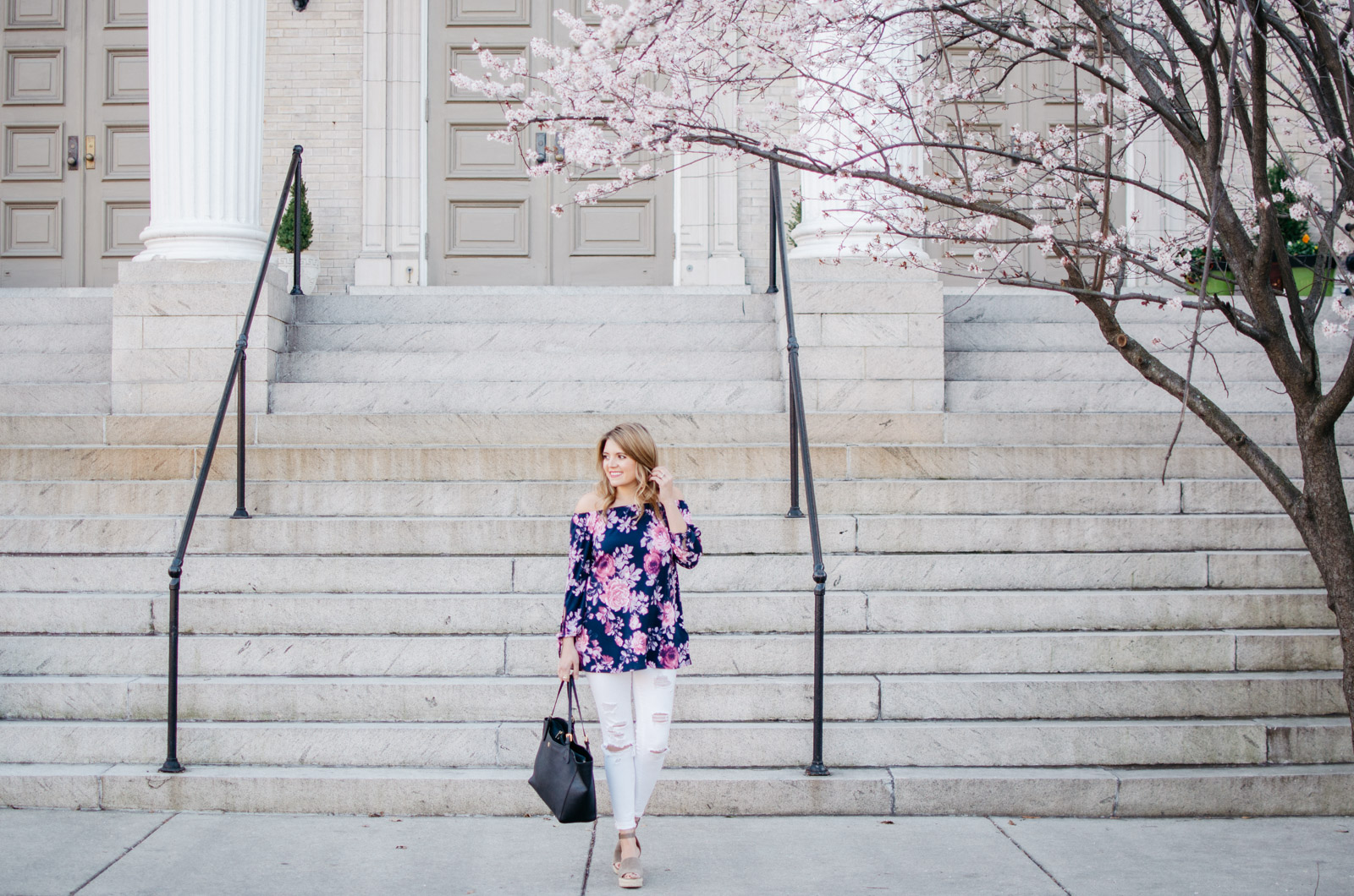 spring outfit idea with off shoulder floral print top - For more pretty Spring outfits or to shop this look, head to bylaurenm.com!