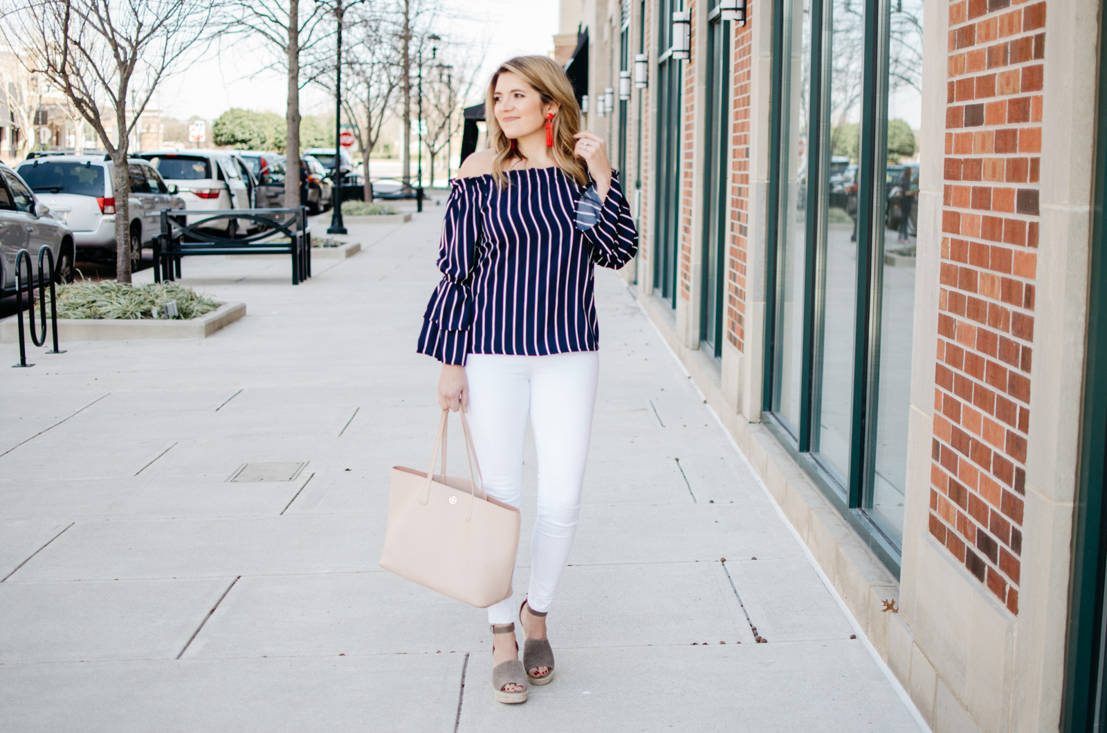 stripe off shoulder bell sleeve top - Click through for more cute Spring outfits or to shop this look. www.bylaurenm.com