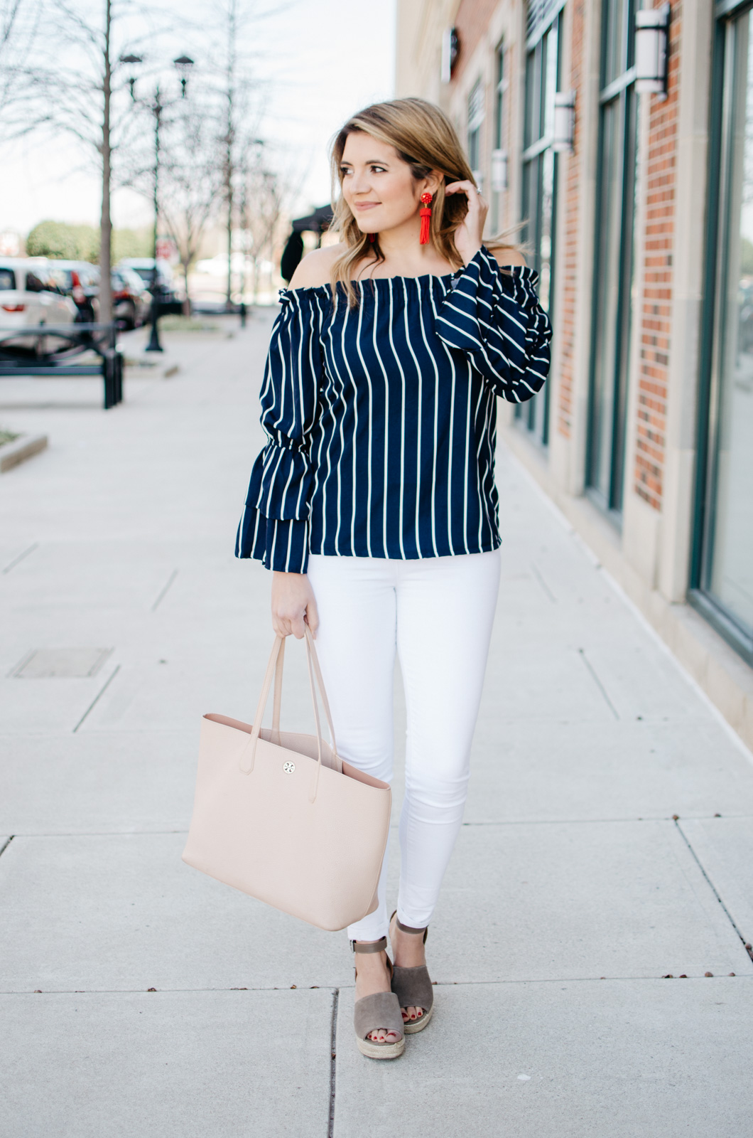 Stripe Off Shoulder Bell Sleeve Top - trendy spring outfit. Click through for more cute Spring outfits or to shop this look. www.bylaurenm.com
