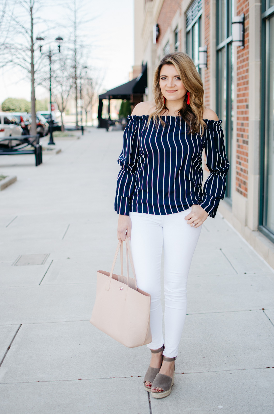 5204e1e4bae striped off shoulder top | By Lauren M