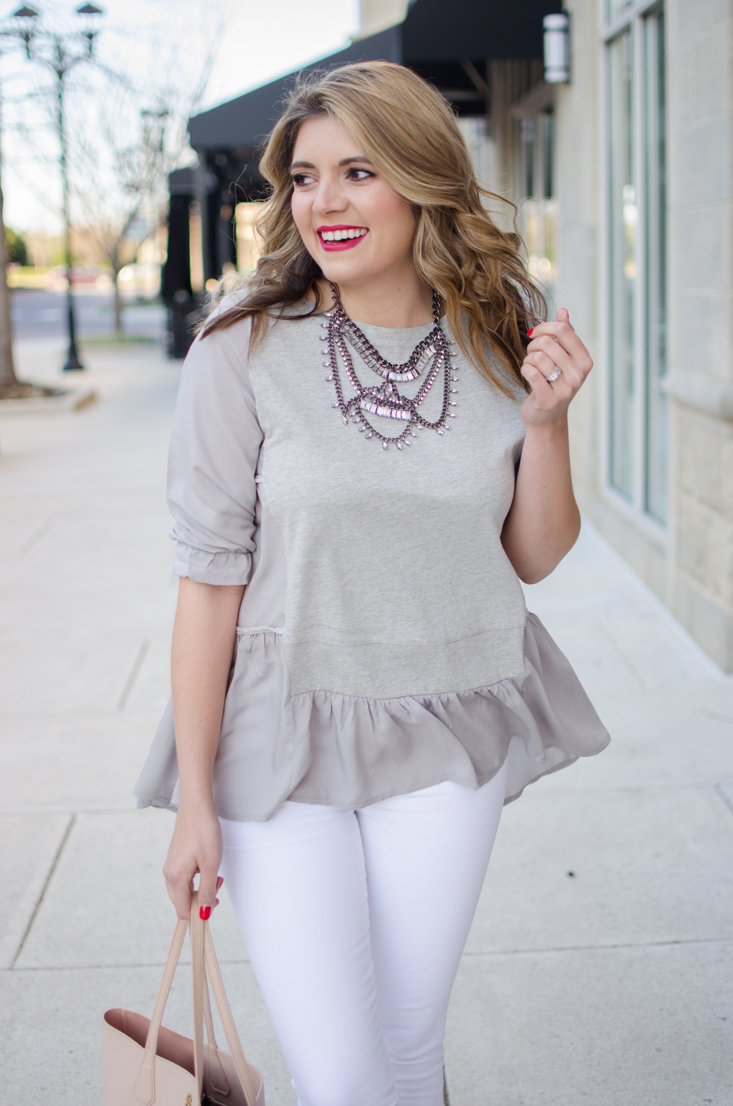 gray and white spring outfit with gray ruffle tee - Click through for more cute Spring outfits or to shop this look! bylaurenm.com
