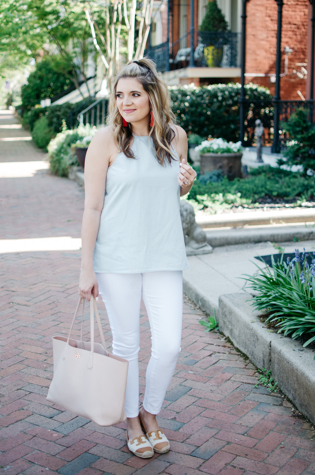 chambray tank with white jeans - favorite spring outfit | For more cute spring outfit ideas, head to bylaurenm.com!