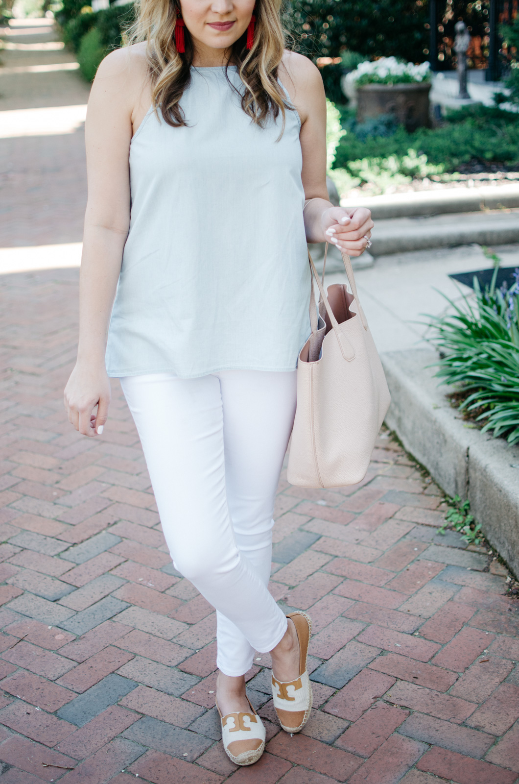 best spring outfit - chambray and white denim | For more cute spring outfit ideas, head to bylaurenm.com!