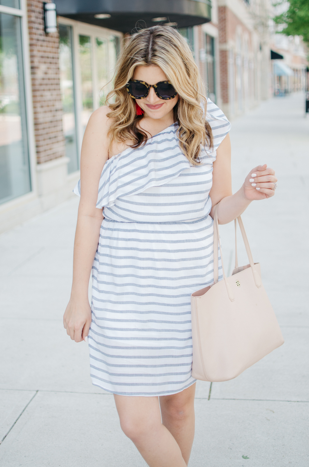 spring sundress outfit - stripe one shoulder dress | For more cute casual spring outfits, head to bylaurenm.com