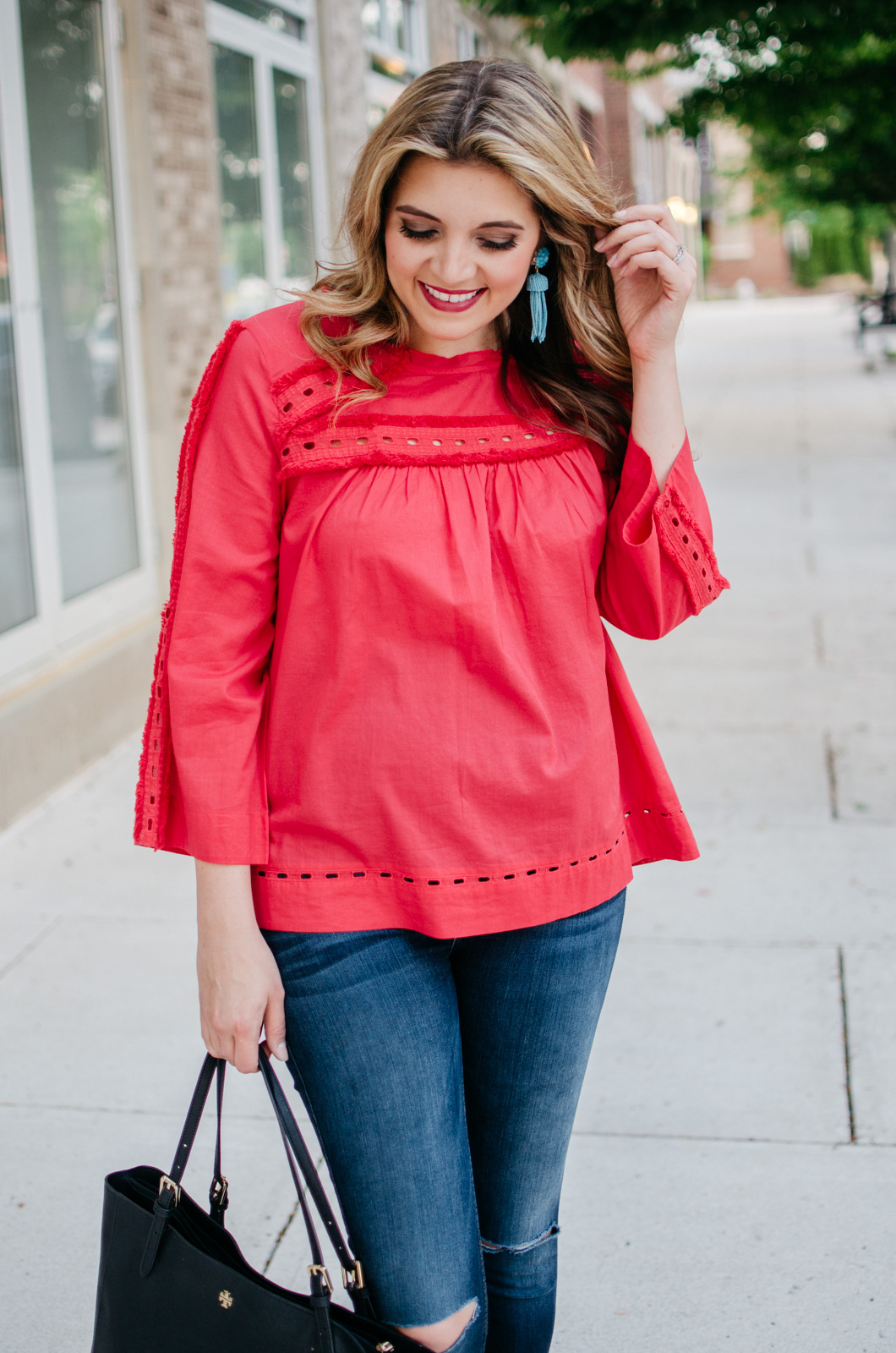 spring outfit fringe embellished top | Get more cute spring weekend outfit ideas at bylaurenm.com!