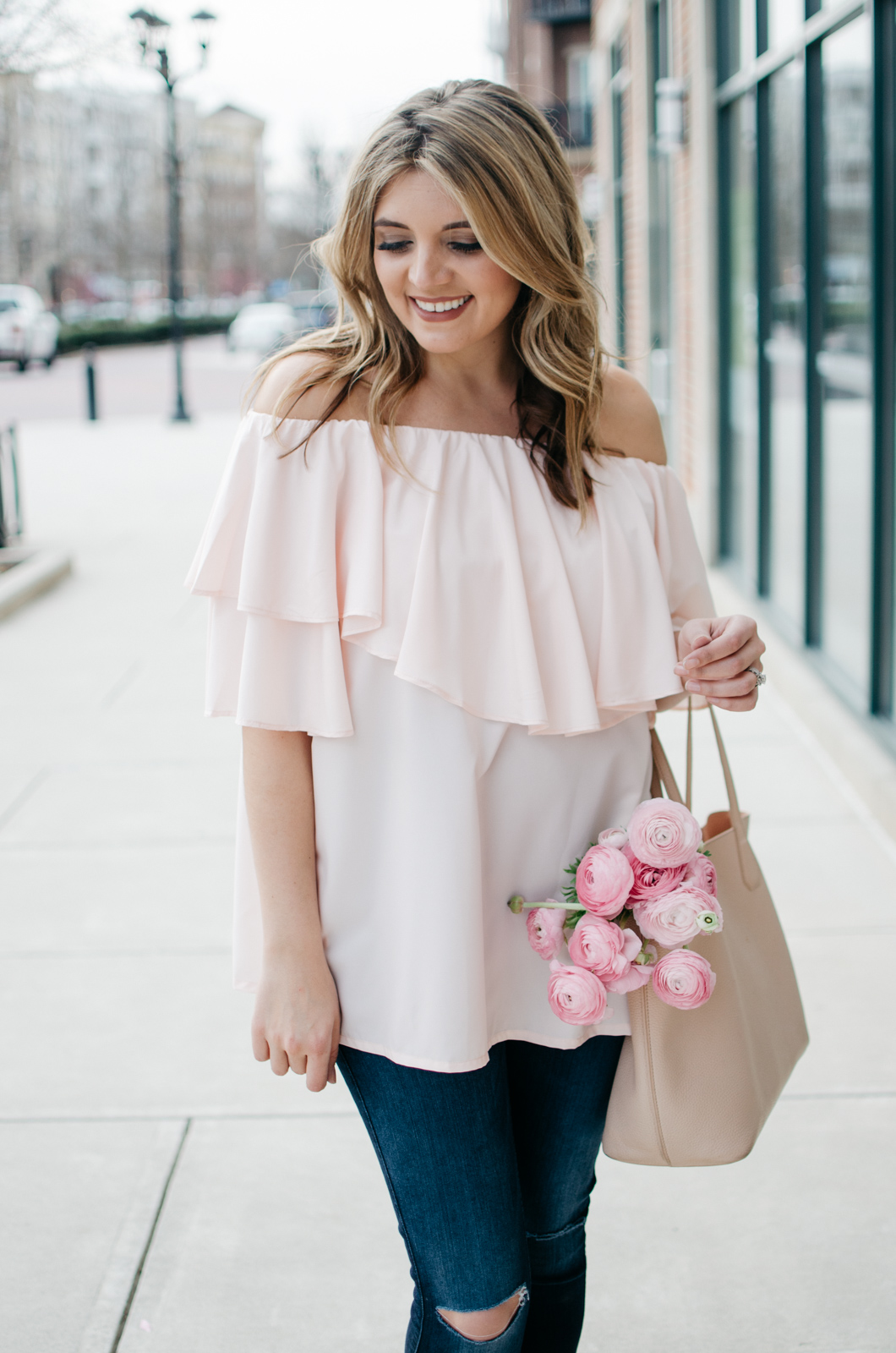 spring outfit idea - blush pink top | | For more pretty Spring outfits or to shop this look, head to bylaurenm.com!
