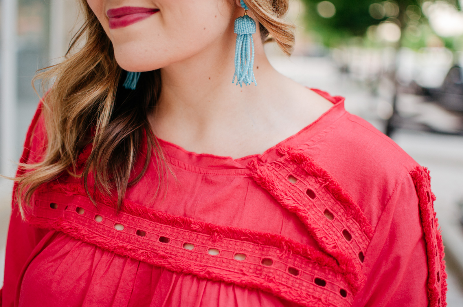 spring style - fringe embellished top | Get more cute spring weekend outfit ideas at bylaurenm.com!