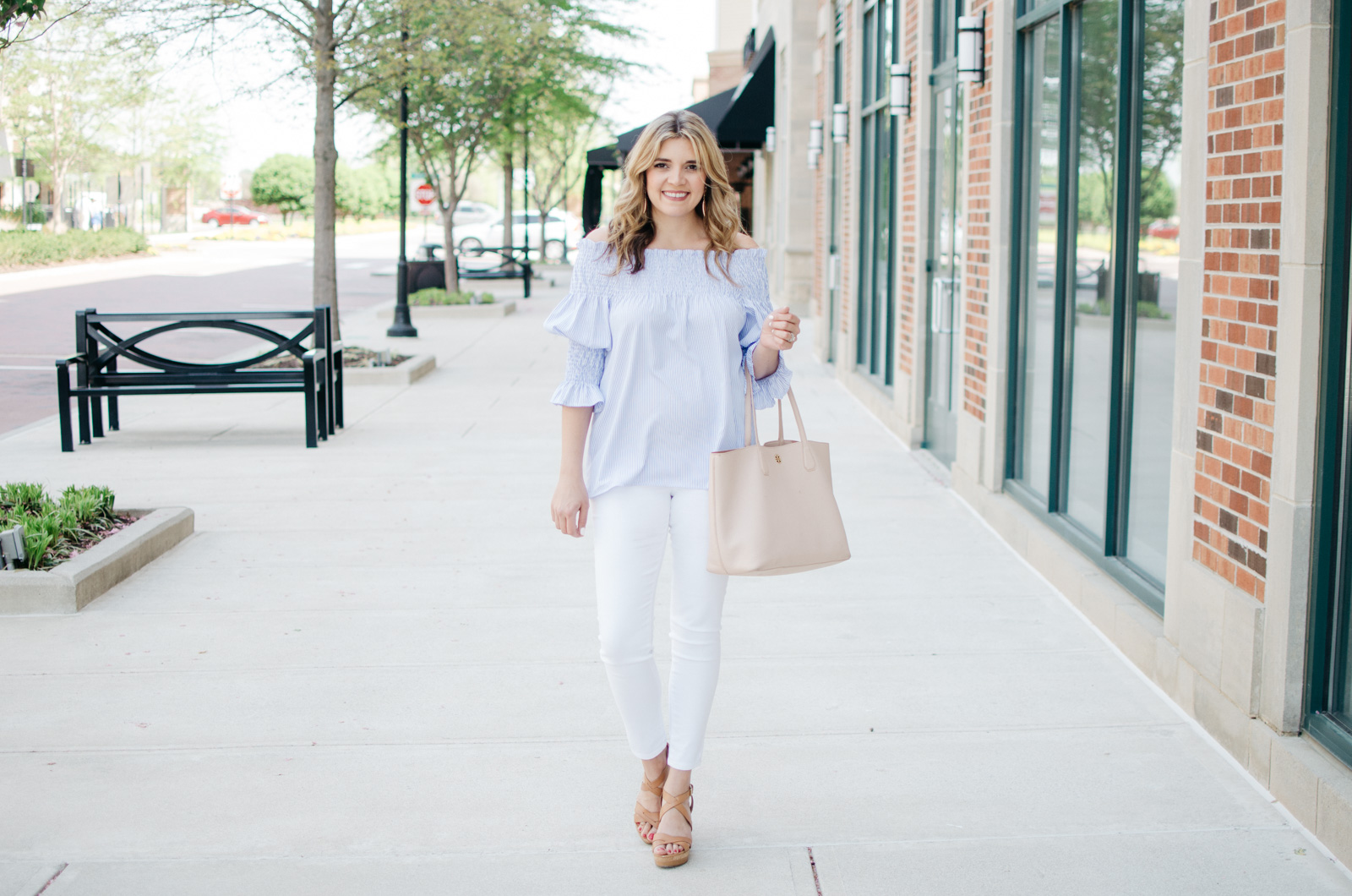 spring outfit idea - how wear off shoulder tops | Want more Spring outfit inspiration? Head to bylaurenm.com!