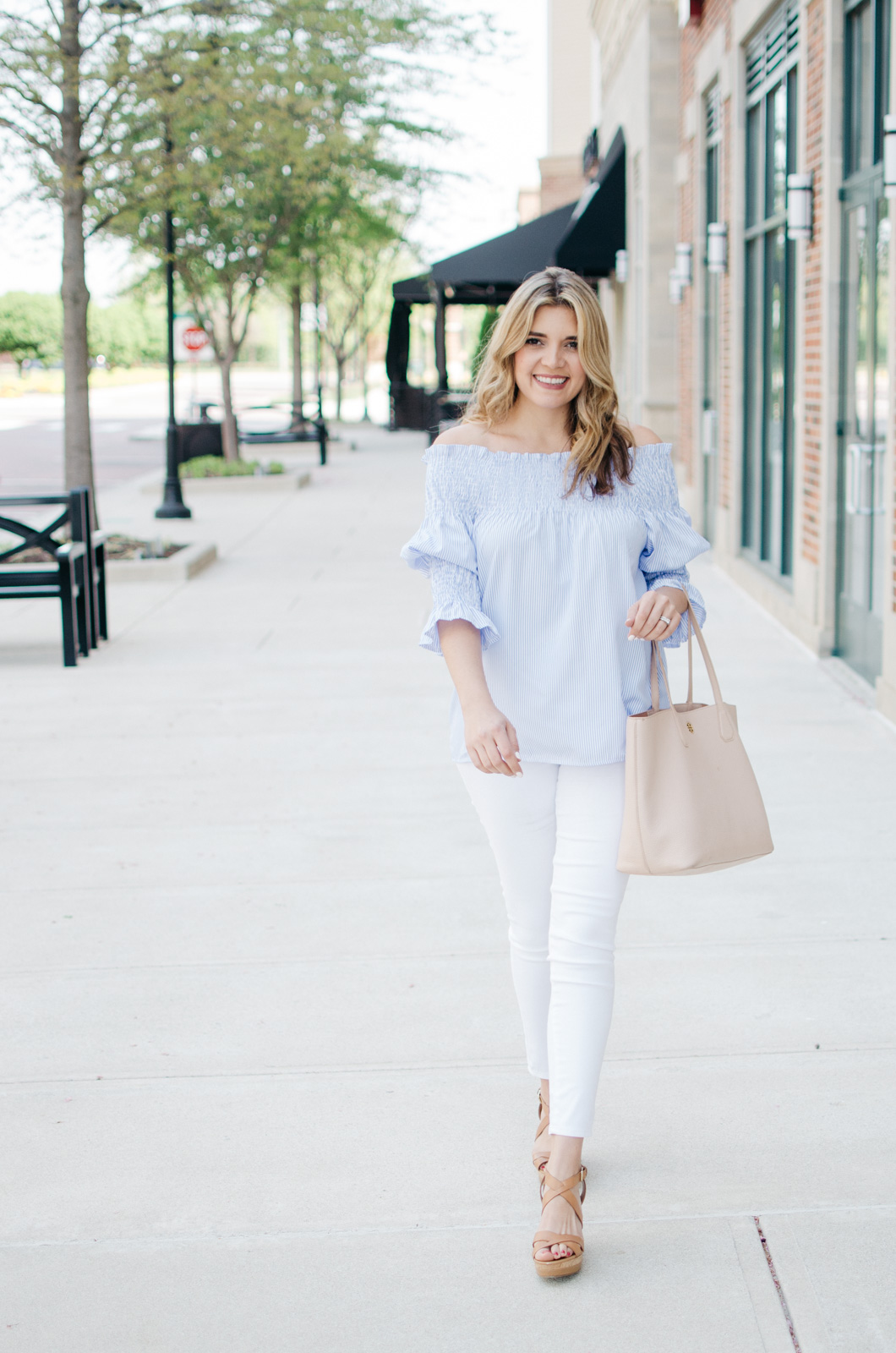 white jeans spring outfit - my go-to spring outfit | Want more Spring outfit inspiration? Head to bylaurenm.com!