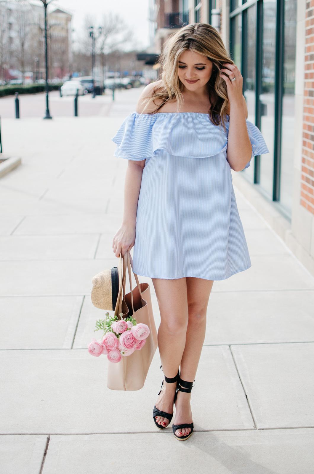 off shoulder dress outfit - girly spring outfit idea | Click through for more cute spring outfits or to shop this look! bylaurenm.com