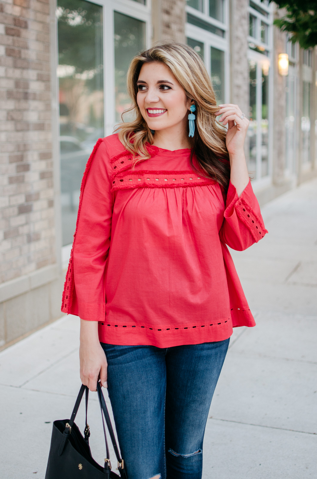 fringe embellished top spring outfit   Get more cute spring weekend outfit ideas at bylaurenm.com!