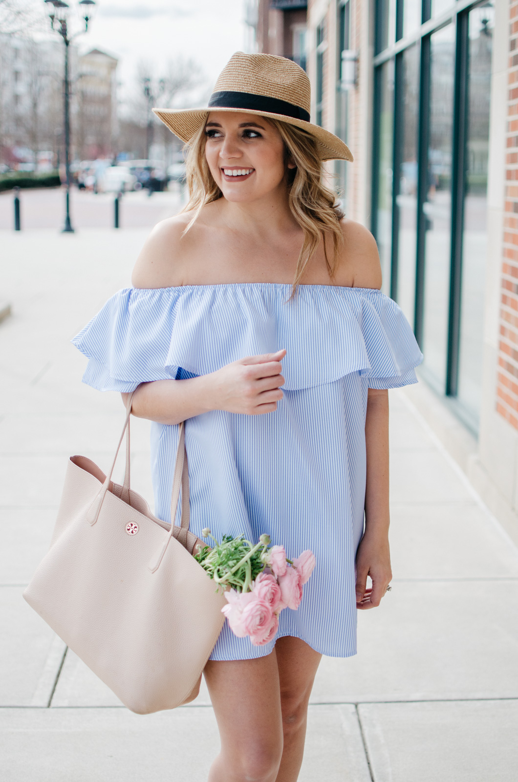 4a7639d3e0b Girly Spring Outfit - Stripe Off Shoulder Dress