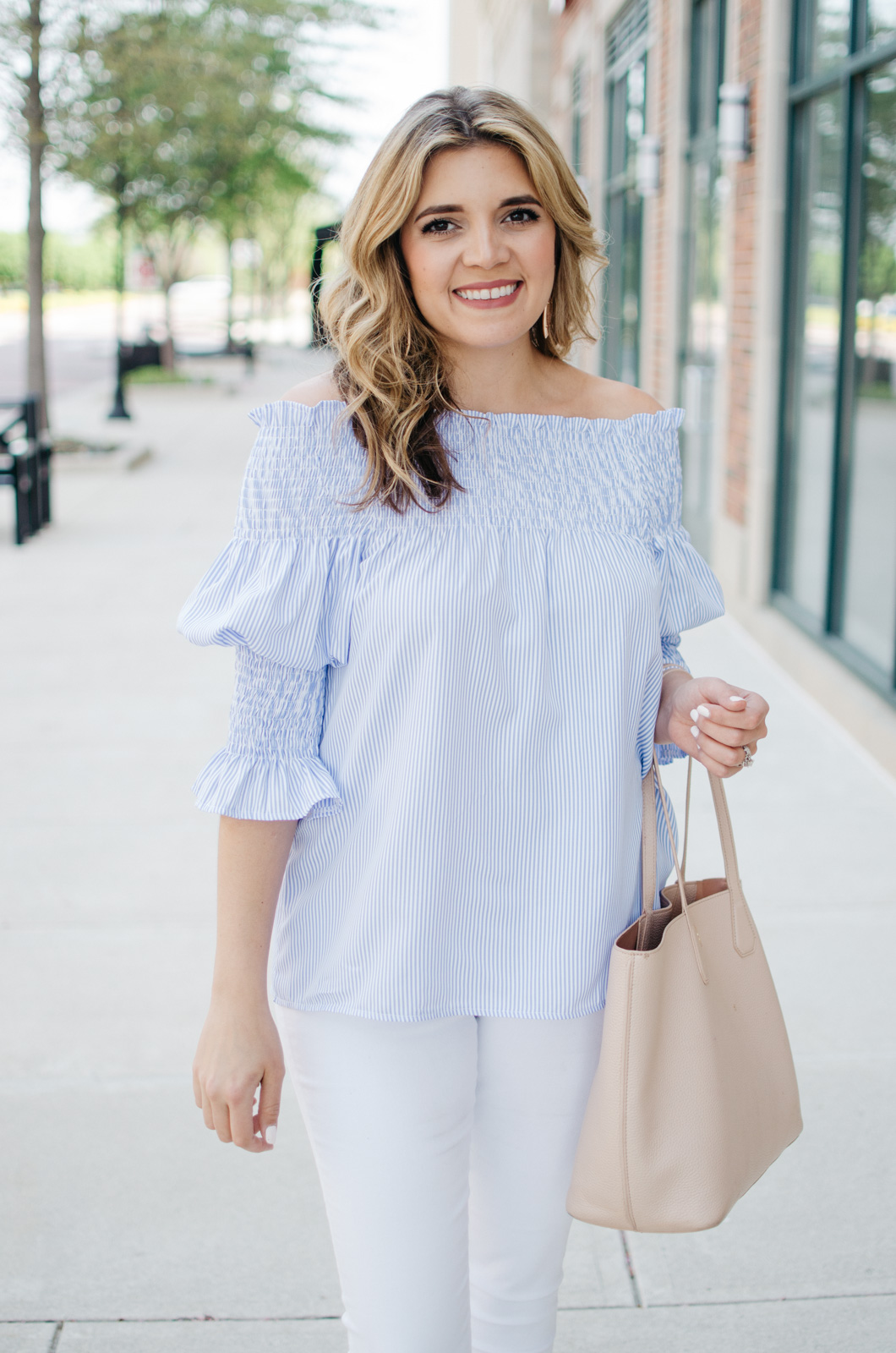 my go-to spring outfit - stripe off shoulder top | | Want more Spring outfit inspiration? Head to bylaurenm.com!