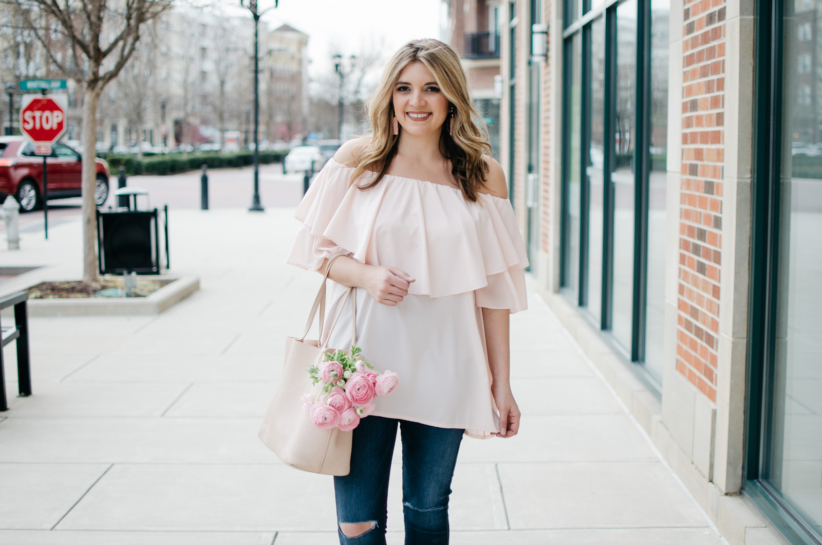 blush pink spring outfit - feminine outfit for spring | | For more pretty Spring outfits or to shop this look, head to bylaurenm.com!