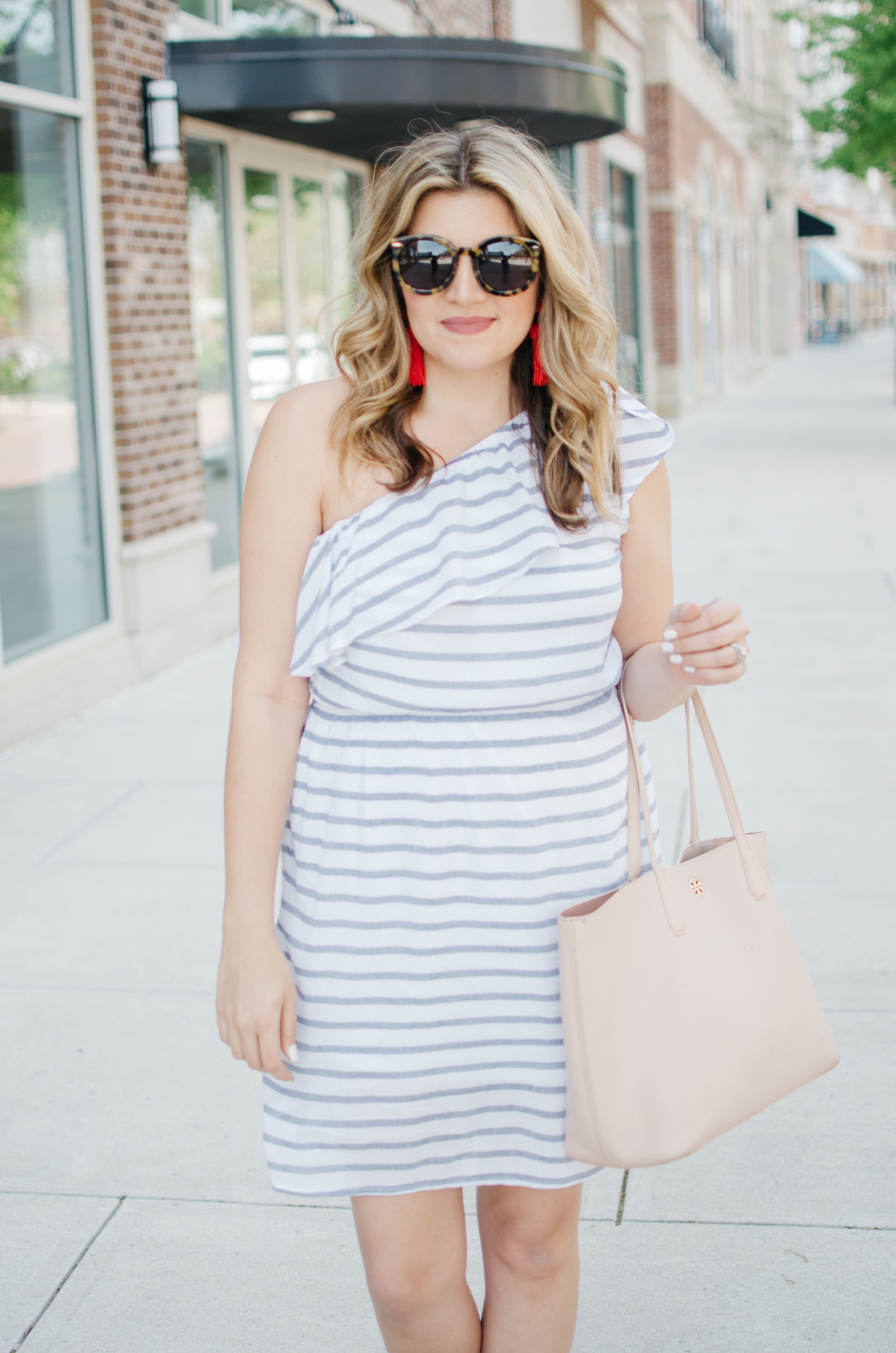 one shoulder stripe dress - cute weekend sundress outfit | For more cute casual spring outfits, head to bylaurenm.com
