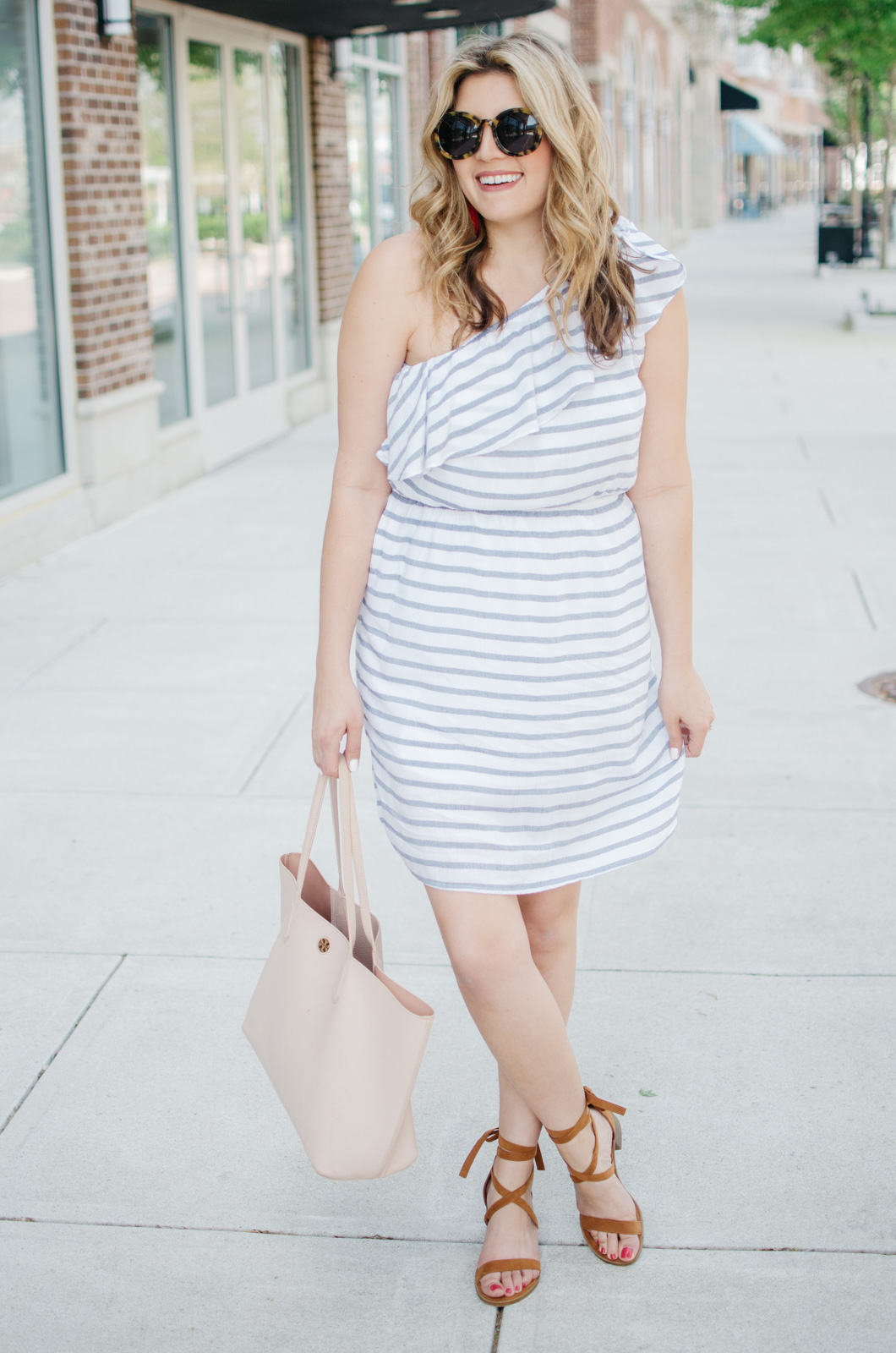 stripe one shoulder dress - spring sundress outfit | For more cute casual spring outfits, head to bylaurenm.com