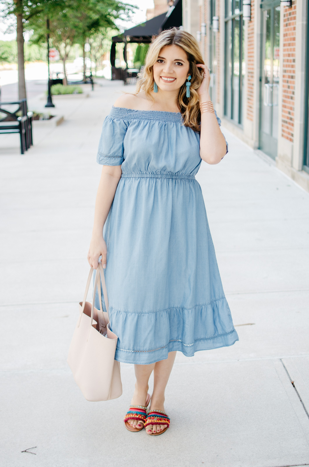 summer casual outfit - chambray off shoulder dress | bylaurenm.com