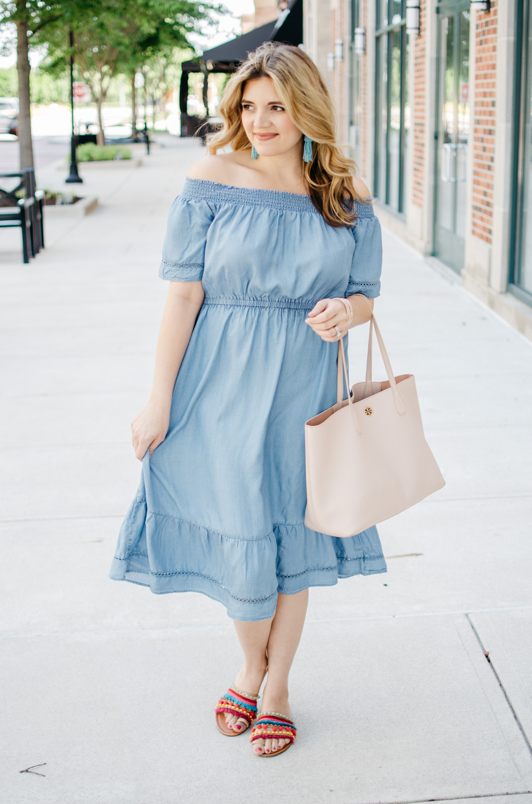 cute summer outfit - chambray off shoulder dress outfit | For more Summer style, head to bylaurenm.com