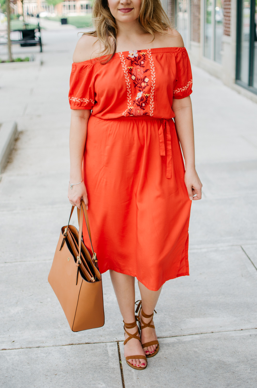 off shoulder embroidered dress - spring outfit idea | bylaurenm.com
